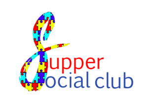 Logo with an S that is large and made out of autism puzzle pieces and then the words Supper Social Club