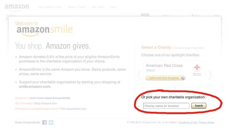 "The amazon smile home page. A red circle is around text that says ""Or pick your own charitable organization:"""""