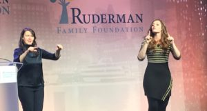 Deaf Singer Mandy Harvey and her interpreter at the Ruderman Summit