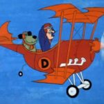 Cartoon picture of mutley the dog and dick dastardly in their orange bi-plane