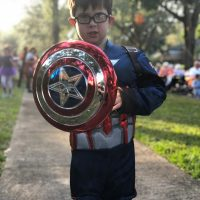 Will Hayes, 7 year old boy with down syndrome wearing a captain America outfit